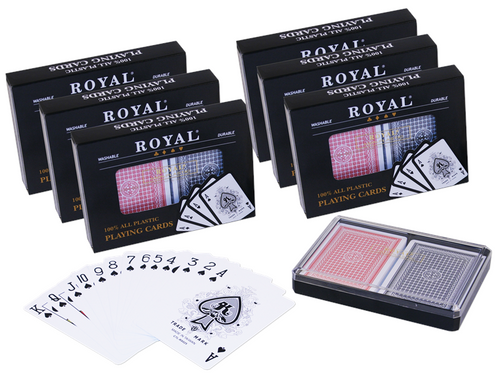 12 decks of 100% plastic poker playing cards