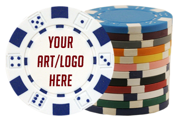 Dice custom poker chips with your logo/artwork