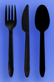 MEDIUM WEIGHT SPOON, FORK, KNIFE - BLACK - 3/1000 (3,000/case)