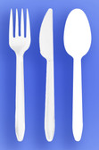MEDIUM WEIGHT SPOON, FORK, KNIFE - WHITE - 3/1000 (3,000/case)
