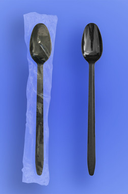 "8"" Long Black Soda Spoons"