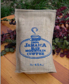 Jamaica Blue Mountain coffee in 1lb burlap bag from Precious Provisions Food Imports
