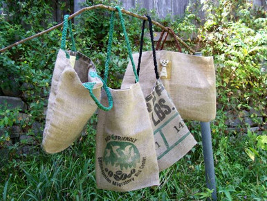 Stout carry bags made from clean discarded burlap coffee bags - medium sized