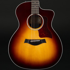 Taylor 214ce-CF DLX SB Copafera/Sitka Grand Auditorium Cutaway, ES2 in Sunburst with Case #2106278523
