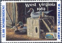 West Virginia Duck Stamp 1989 Decoys / Mallard / Pintail / Wigeon Non Resident