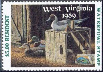 West Virginia Duck Stamp 1989 Decoys / Mallard / Pintail / Wigeon Resident Hunter