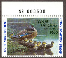 West Virginia Duck Stamp 1988 Wood Ducks Top stamp with plate # Non Resident
