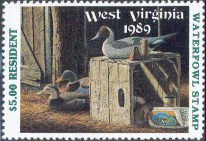 West Virginia Duck Stamp 1989 Decoys / Mallard / Pintail / Wigeon Resident