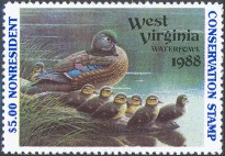 West Virginia Duck Stamp 1988 Wood Ducks Non Resident