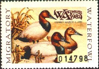 Washington Duck Stamp 1987 Canvasbacks