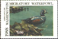 Washington Duck Stamp 1988 Harlequin Duck