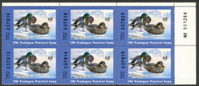 Washington Duck Stamp 1986 Mallards Plate Number Block of Six Stamps