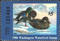 Washington Duck Stamp 1986 Mallards