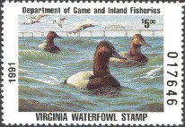 Virginia Duck Stamp 1991 Canvasbacks