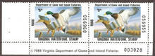 Virginia Duck Stamp 1988 Mallards Hunter pair with plate #, selvage on both sides