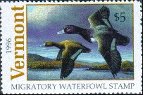 Vermont Duck Stamp 1996 Lesser Scaup