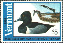 Vermont Duck Stamp 1994 Ring - Necked Ducks