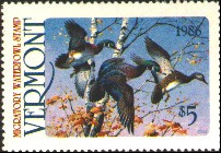 Vermont Duck Stamp 1986 Wood Ducks, Autumn