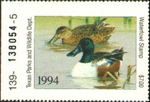Texas Duck Stamp 1994 Shovelers