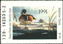 Texas Duck Stamp 1991 Wood Duck