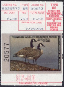 Tennessee Duck Stamp 1987 Canada Geese