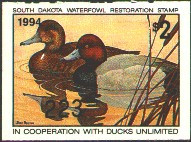 South Dakota Duck Stamp 1994 Redheads