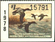 South Dakota Duck Stamp 1978 Canvasbacks