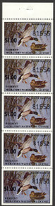 South Dakota Duck Stamp 1976 Mallards Full Pane of 5 with variety