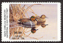 South Carolina Duck Stamp 1985 Green - Winged Teal Hunter variety with serial # on reverse