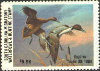 South Carolina Duck Stamp 1983 Pintails