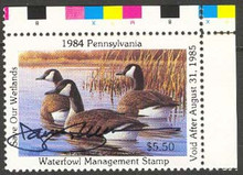 Pennsylvania Duck Stamp 1984 Canada Geese with Color Bar And Hand Signed By The Artist