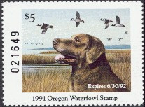 Oregon Duck Stamp 1991 Chesapeake Bay Retriever / Buffleheads