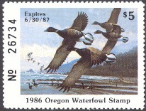 Oregon Duck Stamp 1986 Pacific Brant
