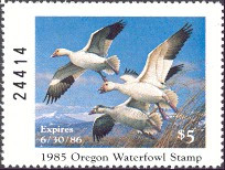Oregon Duck Stamp 1985 Snow Geese