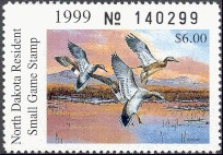 North Dakota Duck Stamp 1999 Gadwall