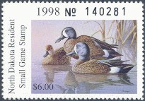 North Dakota Duck Stamp 1998 Blue - Winged Teal