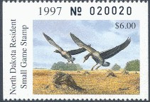 North Dakota Duck Stamp 1997 White - Fronted Geese Hunter type