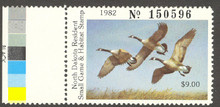 North Dakota Duck Stamp 1982 Canada Geese Extra Fine with Black Color Test Strip XF