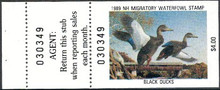 New Hampshire Duck Stamp 1989 Black Ducks Hunter type with full tab