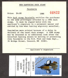 New Hampshire Duck Stamp 1986 Mergansers 3 Part Facsimile with maching # stamp