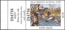 New Hampshire Duck Stamp 1983 Wood Ducks Hunter type with full tab