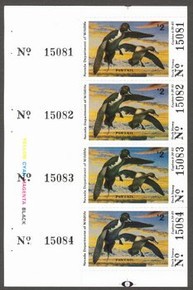 Nevada Duck Stamp 1984 Pintails Full Pane Of Four with Color Bar