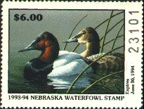 Nebraska Duck Stamp 1993 Canvasbacks