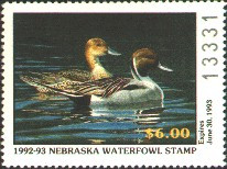 Nebraska Duck Stamp 1992 Northern Pintails