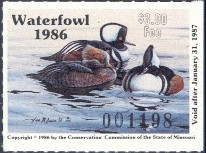 Missouri Duck Stamp 1986 Hooded Mergansers