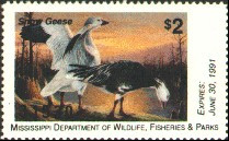 Mississippi Duck Stamp 1990 Snow Geese