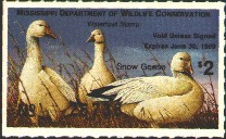 Mississippi Duck Stamp 1988 Snow Geese