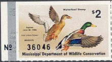 Mississippi Duck Stamp 1985 Mallards Horizontal serial number. Vertical number blocked off with silver bar .