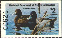 Mississippi Duck Stamp 1983 Lesser Scaup