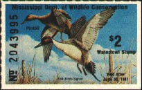 Mississippi Duck Stamp 1980 Pintails